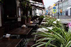 As tabelas da rua fora de um caf? no fundo s?o defocused no primeiro plano, as folhas das flores imagens de stock royalty free