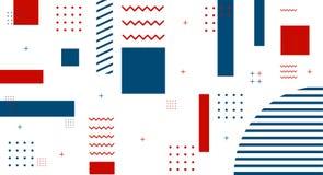 As tampas do estilo de Memphis ajustaram-se com formas e testes padr?es geom?tricos Vetor geom?trico ilustração royalty free