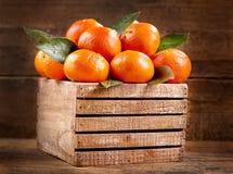 As tanjerinas frescas frutificam com folhas em uma caixa de madeira Fotos de Stock