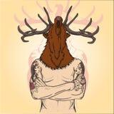 As tatuagens Tattooed um homem com imagem principal de um cervo ilustração royalty free