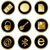As teclas redondas do Web do ouro preto do vetor ajustaram 3 Imagens de Stock Royalty Free