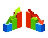 As tendências acima e diagrams para baixo Foto de Stock Royalty Free