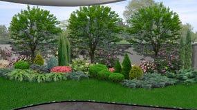 As terras naturais que cercam uma casa, 3d rendem ilustração do vetor