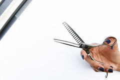 As tesouras do cabelo no isolado das mãos no fundo Fotos de Stock