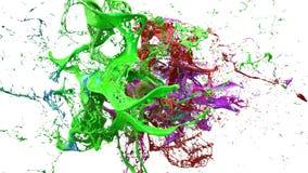 As tintas espirram na ilustração branca do fundo 3d Fotografia de Stock Royalty Free