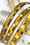 As tiras conduzidas no bulbo com E27 rosqueiam Imagem de Stock Royalty Free