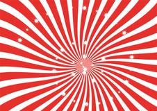 As tiras do redemoinho do vermelho e do branco com efervescência stars o clipart, o papel de parede, o bannder e o contexto Imagem de Stock