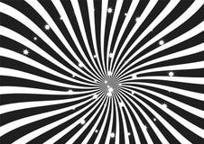 As tiras preto e branco do redemoinho com efervescência stars o clipart, o papel de parede, a bandeira e o contexto Foto de Stock Royalty Free