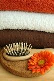 As toalhas e a escova Fotos de Stock Royalty Free
