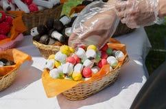 As tomadas da mão cozeram cogumelos da pastelaria da cesta Foto de Stock