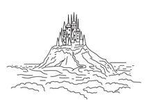 As torres do castelo sobre a planície Vetor ilustração royalty free