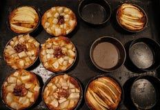 As tortas de maçã caseiros pequenas cozeram recentemente cada um em seu molde fotos de stock royalty free
