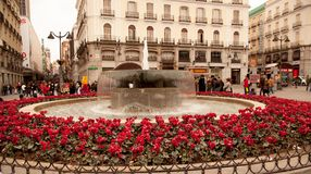 A Madrid town square. Business people, shoppers and tourists gather near a brightly colored fountain and red cyclamen floral display, shoppers go about their Royalty Free Stock Photo