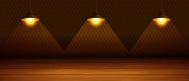 As três lâmpadas na sala Fotos de Stock Royalty Free