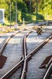 As trilhas de estrada de ferro fecham-se acima Foto de Stock
