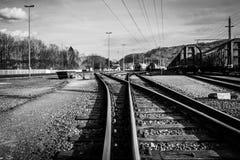 As trilhas de estradas de ferro fotos de stock
