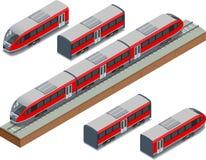 As trilhas isométricas do trem e o trem de alta velocidade moderno Vector a ilustração isométrica de um Rápido-trem Veículos proj ilustração royalty free