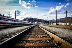 As trilhas railway imagens de stock royalty free