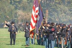 As tropas da união preparam-se para lutar na guerra civil Fotografia de Stock Royalty Free