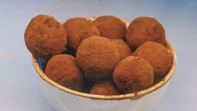 As trufas de chocolate polvilharam o chocolate escuro na bacia imagens de stock