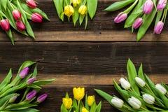 As tulipas florescem na tabela rústica para o 8 de março, mulheres internacionais Fotos de Stock Royalty Free