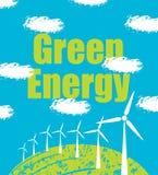 As turbinas eólicas na paisagem nublam-se o céu Fotos de Stock Royalty Free