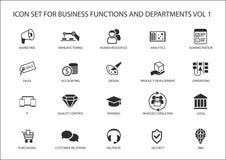 As vários funções corporativas e ícones do departamento de negócio gostam de vendas, mercado, hora, R&D, comprar, explicando ilustração do vetor