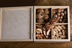 As varas de canela macro amarraram o anis do laço e de estrela com três tipos das porcas e secaram frutos das maçãs em uma caixa  Fotos de Stock