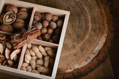 As varas de canela macro amarraram o anis do laço e de estrela com três tipos das porcas e secaram frutos das maçãs em uma caixa  Fotografia de Stock Royalty Free