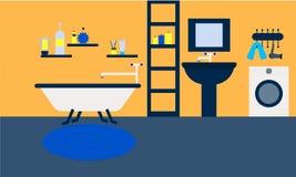 As velas de lavagem interiores das ferramentas do projeto da casa da sala do banheiro relaxam o banho ilustração royalty free