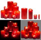 As velas do grupo claro, velas vermelhas das luzes ajustaram-se, branco isoladas Imagem de Stock Royalty Free