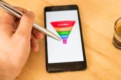 As vendas convergem-se mostrado em uma exposição esperta do telefone, mão masculina que aponta em dados imagem de stock royalty free