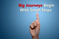 As viagens grandes começam com as etapas pequenas Imagens de Stock