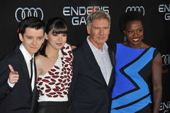 Asa Butterfield & Hailee Steinfeld & Harrison Ford & Viola Davis. LOS ANGELES, CA - OCTOBER 28, 2013: Asa Butterfield (left), Hailee Steinfeld, Harrison Ford & Stock Photography