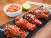 Asa de galinha fritada picante Fotos de Stock Royalty Free