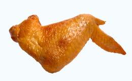 Asa de galinha fumado isolada no fundo branco Imagem de Stock