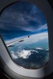 Asa de um avião fotografia de stock