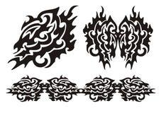 Asa do dragão e elementos tribais dos dragões Foto de Stock Royalty Free