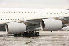 Asa dos motores do avião de Airbus A380 Imagens de Stock Royalty Free