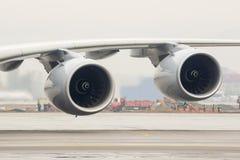 Asa dos motores do avião de Airbus A380 Imagem de Stock Royalty Free