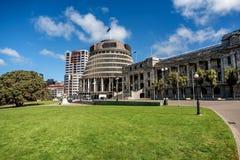 Asa executiva das construções do parlamento de Nova Zelândia encontradas imagens de stock royalty free