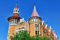 Сasa Serra (Building with spires) in centre of  Barcelona Royalty Free Stock Photo