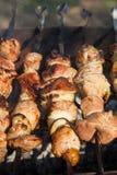 Asación de la carne en la parrilla Imágenes de archivo libres de regalías