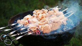 Asación del kebab en los carbones Imagenes de archivo