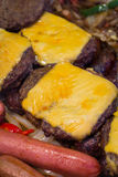 Asado a la parilla de las hamburguesas de los perritos calientes Imágenes de archivo libres de regalías