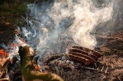Asado a la parilla de las salchichas en acampar Fotos de archivo