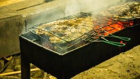 Asado a la parilla de pescados en el fuego del carbón en la noche con humo en vida del jawa del karimun imagen de archivo libre de regalías