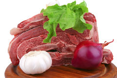 Asado on wood tray and vegetables Stock Image