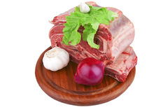 Asado on wood tray and vegetables Stock Images