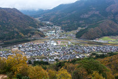 Asago city. View of Asago city from the top of Takeda Castle Royalty Free Stock Photo